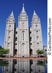 都市, mormon, 湖, lds, 塩, 寺院