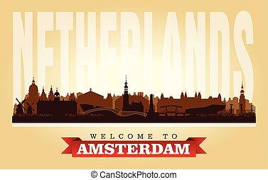 都市, netherlands, シルエット, スカイライン, ベクトル, アムステルダム