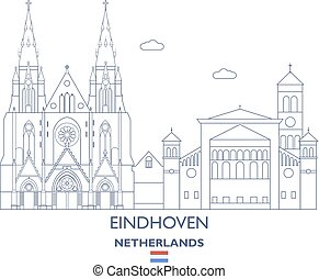 都市, netherlands, スカイライン, eindhoven