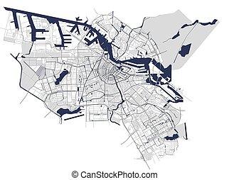 都市, netherlands, 地図, アムステルダム