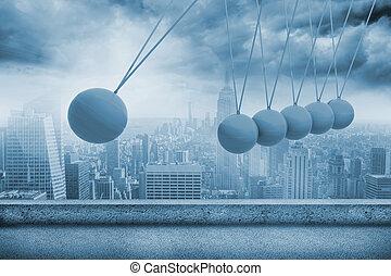 都市, newtons, の上, 揺りかご