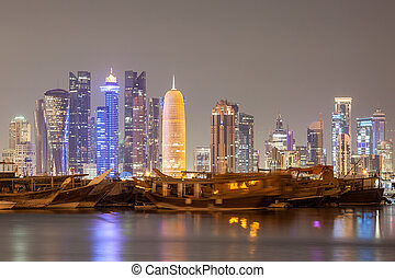都市, qatar, 夜, スカイライン, doha