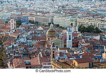 都市, riviera, -, フランス語, 大聖堂, すてきである, 光景