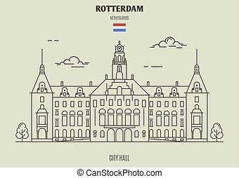 都市, rotterdam, ランドマーク, netherlands., ホール, アイコン