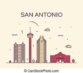 都市, san, アメリカ, antonio, スカイライン, ベクトル, テキサス, 線である