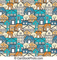 都市, seamless, パターン