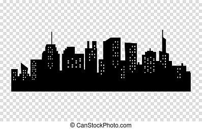 都市, sihouette, 大きい, 黒, skyline., 白