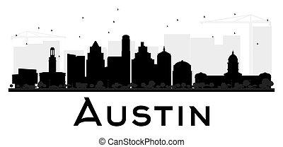 都市, silhouette., スカイライン, 黒, 白, オースティン