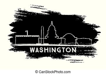 都市, sketch., washington d.c., 手, スカイライン, 引かれる, silhouette.