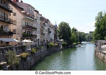 都市, slovenia., 国, 中心, 中心, 文化, 光景, ビジネス, ljubljana, river.