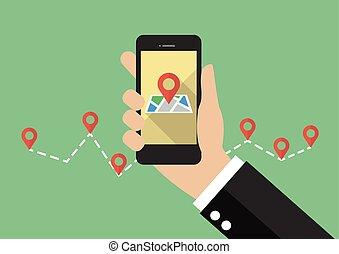 都市, smartphone, 地図, 手掛かり, 手, ナビゲータ, gps