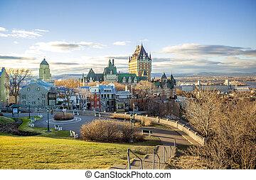 都市, spring., frontenac, ケベック, 都市の景観, 城