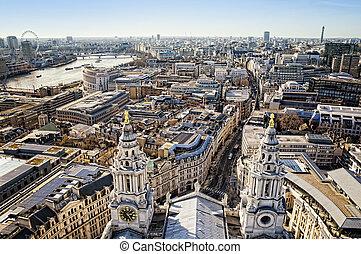 都市, st. 。, ロンドン, 大聖堂, paul`s, 光景
