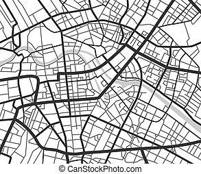 都市, streets., ベクトル, 地図, 抽象的, ライン, 計画, 黒, 白, 案, ナビゲーション, 都市