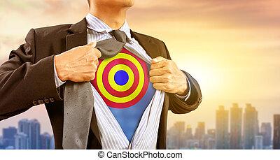 都市, superhero, ターゲット, さっと動きなさい, 衣装, 背景, ビジネスマン