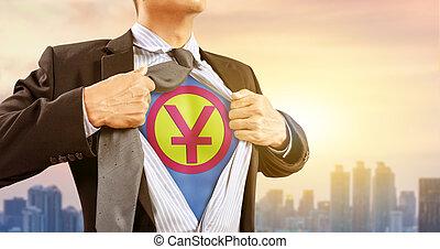 都市, superhero, 中国語, 印, 衣装, 背景, ビジネスマン, yuan