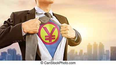 都市, superhero, 円サイン, お金, 日本の 通貨, 衣装, 背景, ビジネスマン