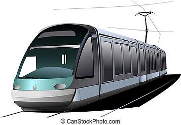 都市, transport., tram., ベクトル, イラスト