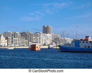 都市,  Valletta, マルタ, スカイライン, 光景