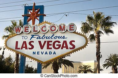 都市, vegas, 歓迎された 印, スカイライン, 通り, 限界, ネバダ, las
