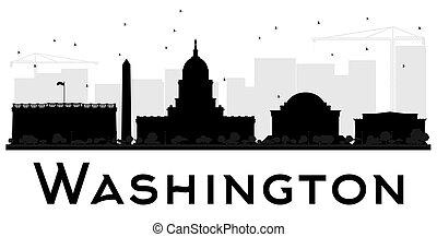 都市, washington d.c., silhouette., スカイライン, 黒, 白