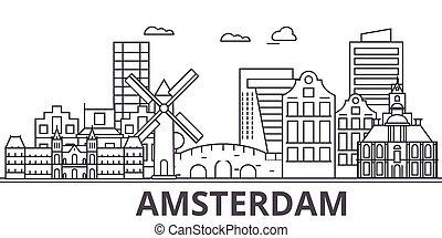 都市, wtih, illustration., 線である, ストローク, editable, icons., ランドマーク, 有名, スカイライン, ベクトル, デザイン, 光景, 都市の景観, アムステルダム, 線, 景色の 建築