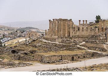 都市, zeus, governorate, 資本, jerash, ヨルダン人, ヨルダン, antiquity), 最も大きい, (gerasa, 寺院