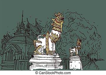 都市scape, 図画, スケッチ, 中に, タイ, ∥において∥, 寺院, prasat, ライオン, 彫刻
