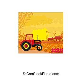 鄉村, 拖拉机, 風景