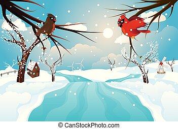 鄉村, 河, 冬天