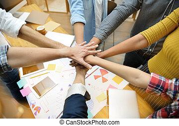 配合, 显示, businesspersons, 团体, 手