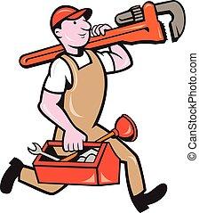 配管工, サル, 動くこと, 届く, レンチ, 道具箱