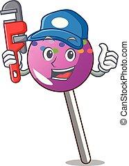配管工, マスコット, 振りかける, 漫画, lollipop