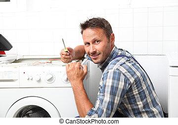 配管工, 固定, 壊される, 洗濯機