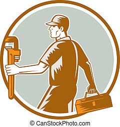 配管工, 木版, レンチ, 届きなさい, 円, 道具箱
