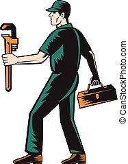 配管工, 木版, 歩くこと, レンチ, 届きなさい, 道具箱