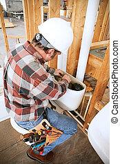 配管工, installs, トイレ