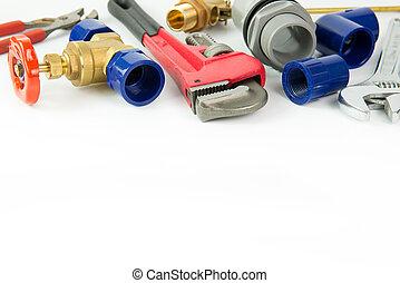 配管, 道具, そして, 材料