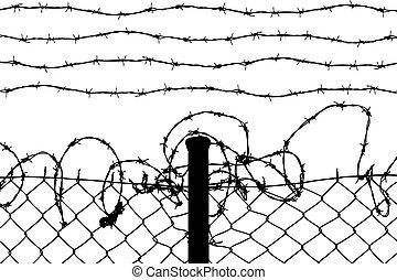 配線された, フェンス, ∥で∥, とげがある, ワイヤー