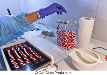 配藥, 分類, 膠囊, 機器, 包裝, 實驗室, 白色, 西班牙, 紅色