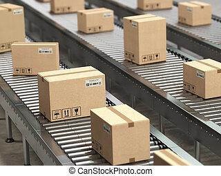 配達サービス, コンベヤー, concept., 包装, 箱, 倉庫, 分配, ボール紙, ローラー