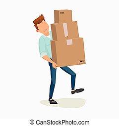 配達員, 出産, service., 出産, box., 出産, boy., 人, 渡すこと, package.,...