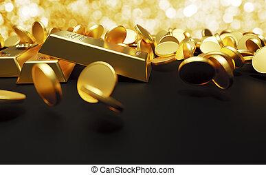 酒吧, 光, render, 3d, 落下的硬币, 金子, bokeh