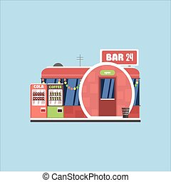 酒吧, 前面, 在, 圣誕節。, 矢量, 插圖