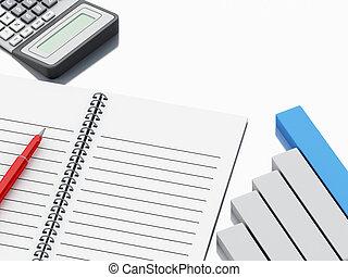 酒吧, 办公室, 图表, 计算器, notepad, 3d