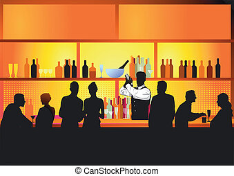 酒吧, 夜晚