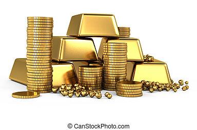 酒吧, 硬币, 金子