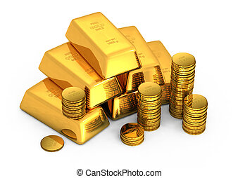 酒吧, 硬币, 金子, 3d