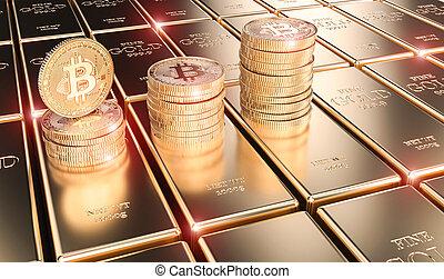 酒吧, 金子, render, 形象, 硬币, bitcoin, 3d