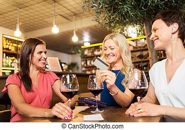 酒吧, 餐馆, 信用, 酒, 或者, 卡片, 妇女